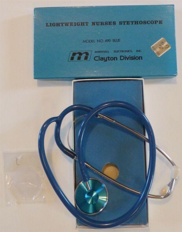 VTG NIB Lightweight Nurses Stethoscope 490 Blue Marshall Electronics Clayton Div