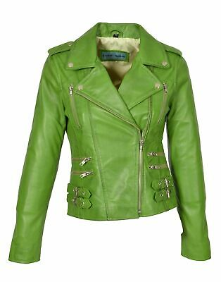 Brand New Womens Genuine Lambskin Leather Jacket Stylish Biker Motorcycle