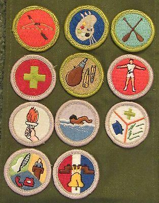 Boy Scouts of America BSA Merit Badge Sash with 11 Merit Badges Archery