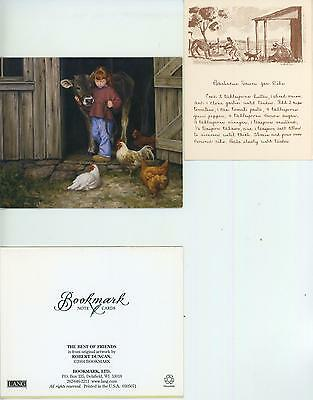VINTAGE FARMER PIG FOLK ART BAKED SUGAR HAM RECIPE PRINT 1 FARM CHICKEN COW CARD