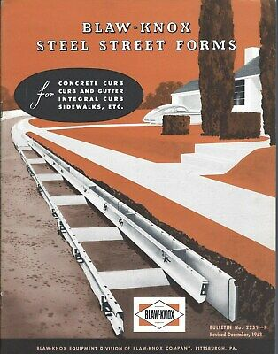 Equipment Brochure - Blaw-knox - Steel Street Concrete Curb Form - 1953 E5276