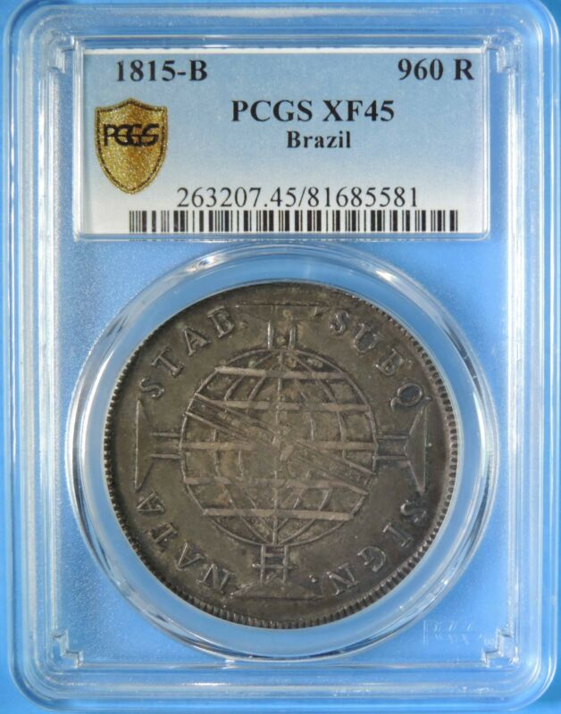 1815 B Brazil 960 Reis Silver Coin Overstruck on 8 Reales PCGS Graded XF45