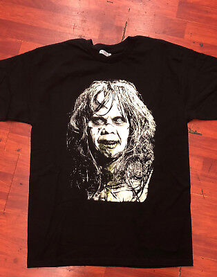 THE EXORCIS BRAND NEW white GIRL Scary FACE HALLOWEEN HORROR BLACK T SHIRT S-2x (Scary Halloween Girl)