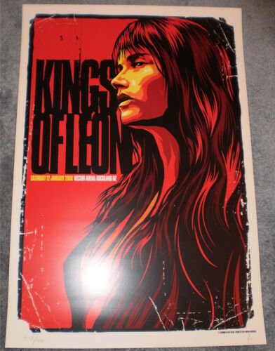 Kings Of Leon 2008 Auckland NZ New Zealand Ken Taylor Signed Poster Print #d/500