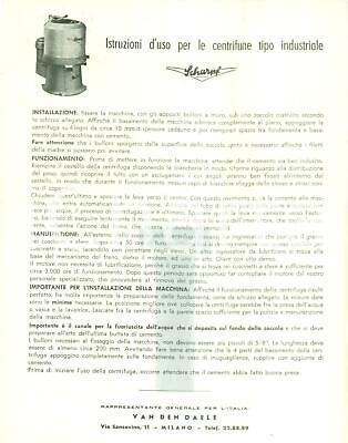 1955 ca MILANO Ditta SCHARPF Istruzioni per centrifughe di tipo industriale