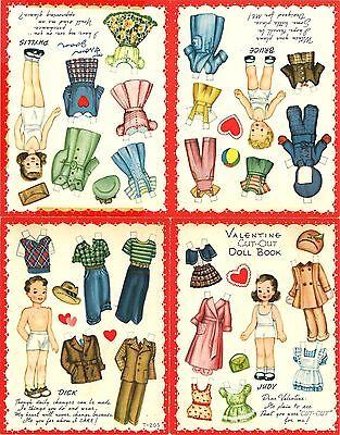 VINTAGE UNCUT 1940s VALENTINES No2 4 MINI PAPER DOLL ~MERRILL~ORG SZ~LASeR REPRO