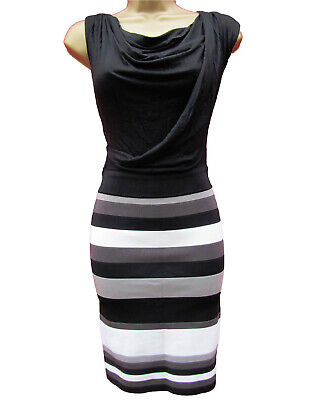 New KAREN MILLEN Stripe 2 in 1 BNWT £160 Colourblock Knit Dress UK Size 6 8 10