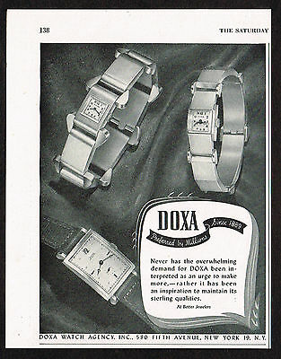 1940's Vintage 1946 Doxa Watch Co. - Paper Print AD