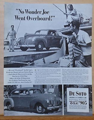 1940 magazine ad for De Soto - Joe goes overboard for new De Soto, photo ad
