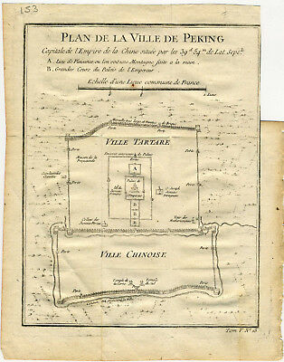 1754 Genuine Antique Map City Plan of Peking. by J.N. Bellin