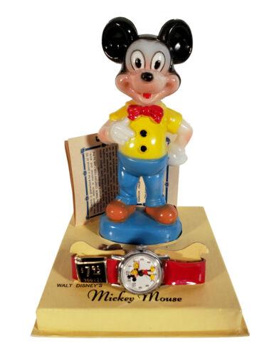 VINTAGE WALT DISNEY MICKEY MOUSE INGERSOLL TIMEX WATCH + FIGURINE ORIGINAL BOX