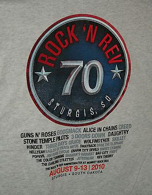 2010 Sturgis Rock 'N Rev Concert Guns & Roses 70 Motorcycle Gray T-Shirt New 2X