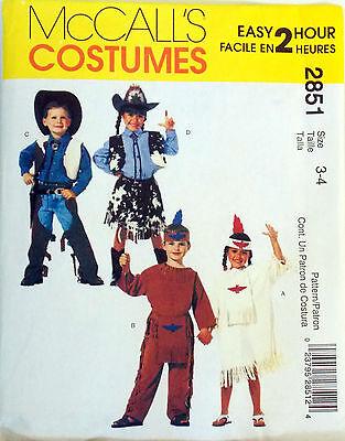 MCCALL'S Muster Kostüm Cowboys Indianer Junge Mädchen Einfach 2 Hr