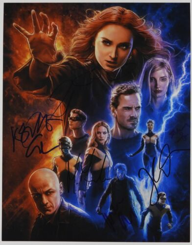 Dark Phoenix JSA Cast 8 signatures signed autograph 11x14 photo Sophie Turner