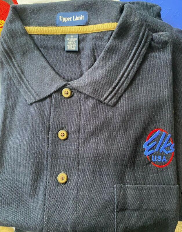 Elks BPOE Embroidered Logo 100% Cotton Polo Shirt NAVY LARGE size w/pocket