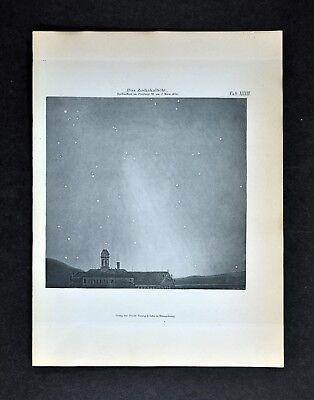 1894 Muller Celestial Map - Morning Zodiacal Light in Freiburg Germany in 1846
