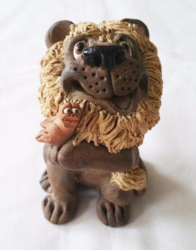 Vintage 1974 Lion Figurine Figure Clay Artist Sign
