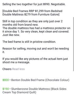 Benton Double Bed Frame and Slumberzone Double Mattress