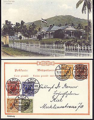Postkarte Dt. Kolonien SAMOA Mi. 1-6 gestempelt APIA, Fälschung