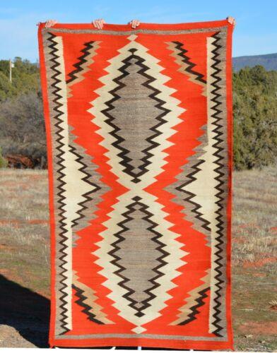 "Old Navajo Indian Transitional Eyedazzler Blanket Rug  - Circa 1900 - 86"" x 51"""