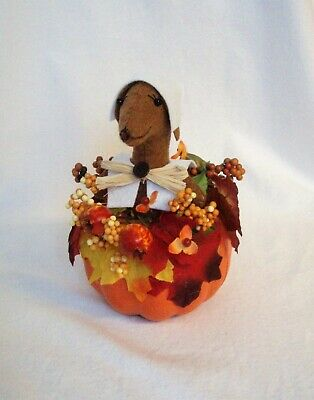 Felt Dachshund Red Brown Sculpture Pilgrim girl Pumpkin Thanksgiving Table decor
