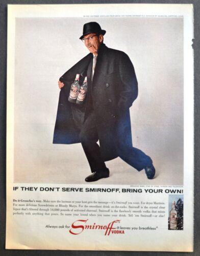Groucho Marx Smirnoff Vodka original 1965 Vintage print ad liquor