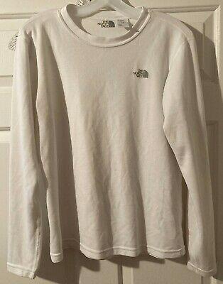 THE NORTH FACE MENS LARGE WHITE LONG SLEEVE PULLOVER SHIRT-POLYESTER-FRONT LOGO
