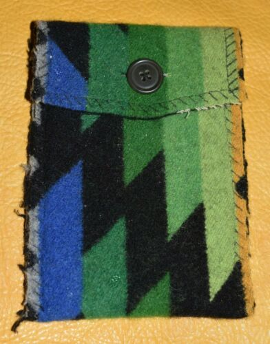 Handmade Pendelton Wool Fabric Small Medicine Pouch Bag W/ Button Crafted Oregon