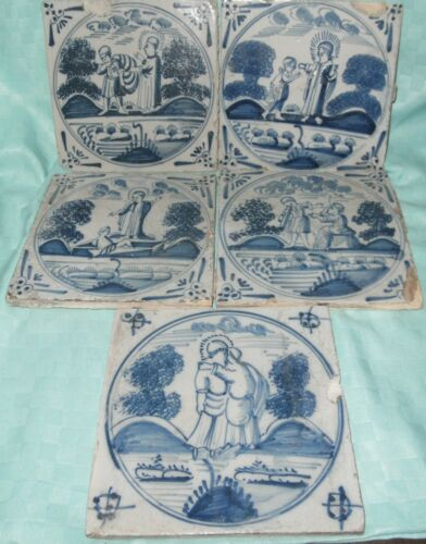 ANTIQUE DUTCH DELFT BLUE AND WHITE RELIGIOUS TILES SET OF 5,17TH CENTURY