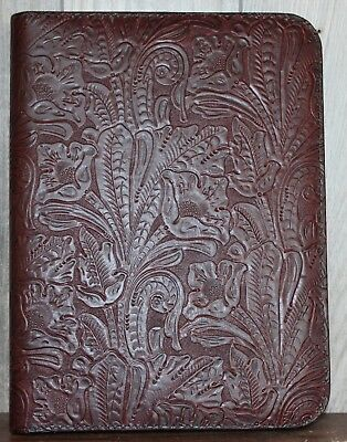 3 Pc Set Dk Burgundy Western Leather Portfolio -3 Ring Binder-7 Ring Checkbook