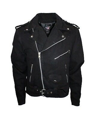 MEN'S CLASSIC BIKER MOTORCYCLE MC JACKET BLACK DENIM ZIPPER POCKETS.