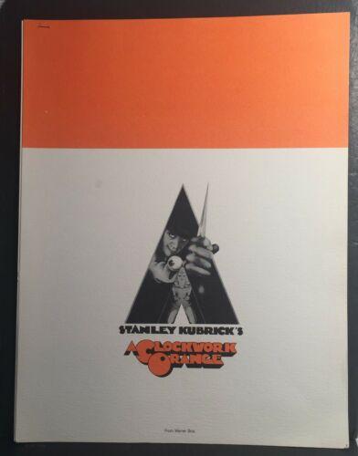 1972 A Clockwork Orange 8x10 6 Page Movie Press Kit Stanley Kubrick X Rated Film