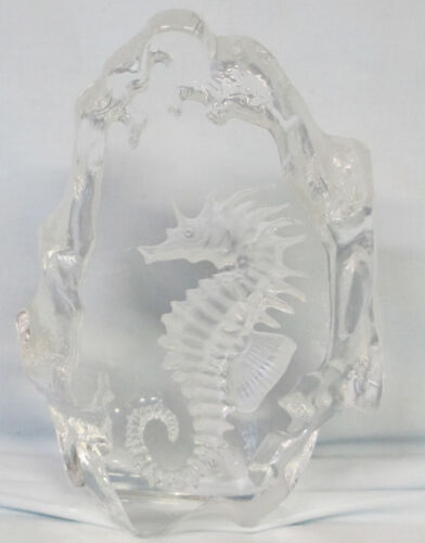 Mats Jonasson Sweden Crystal Paper Weight Seahorse