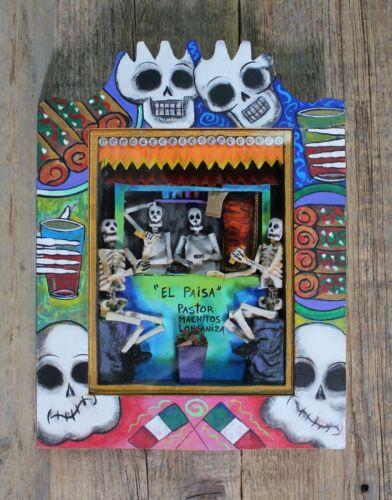 Day of the Dead Skeletons Eating Tacos Wood Retablo Handmade Mexican Folk Art