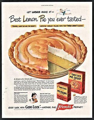 Lemon Meringue Filling (1948 LEMON MERINGUE PIE Good Luck Pie Crust & Filling Baking Vintage Food)
