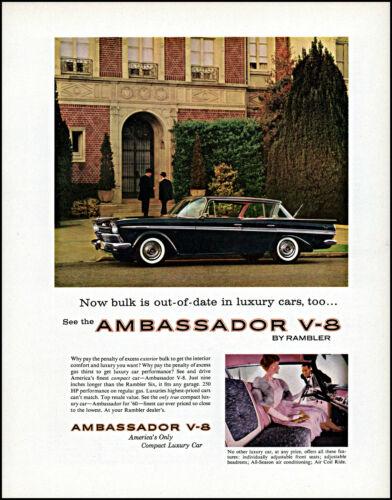 1960 Ambassador V-8 Rambler luxury car mansion woman vintage photo print ad L7