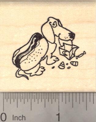 Halloween Dachshund Dog Rubber Stamp in Hot Dog Costume E22316 - Dachshund Halloween Hot Dog