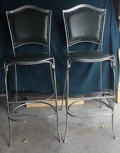 Wright-Iron Olive Green Leather Bar Chairs