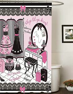 70 in x 72 in Fashion Diva Canvas Fabric Shower Curtain Glamour Girl Pink Color