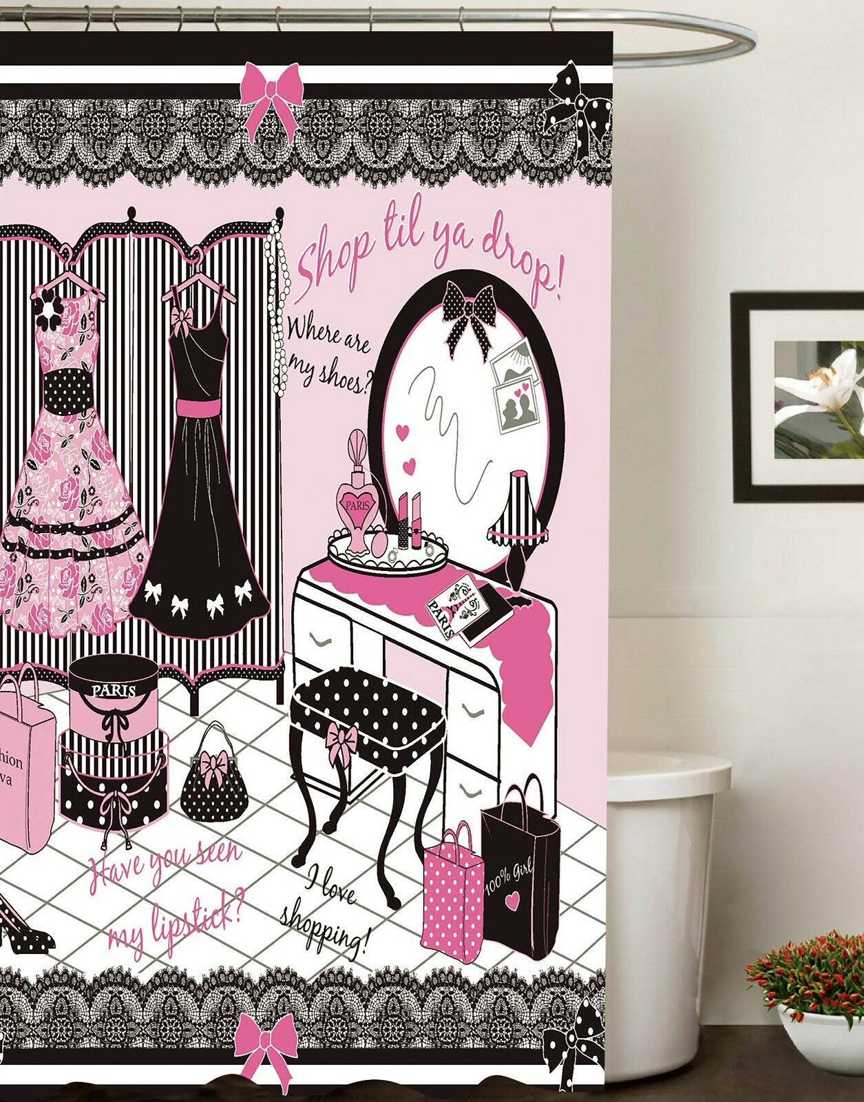 70 in x 72 in Fashion Diva Canvas Fabric Shower Curtain Glam