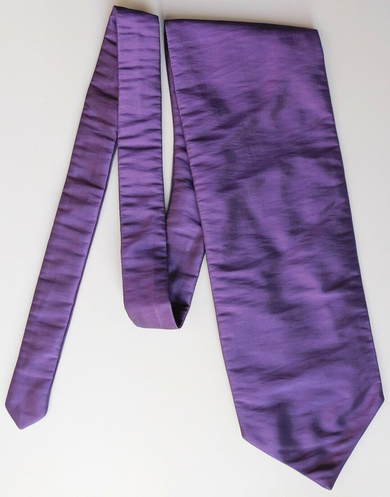 Purple satin cravat single wing self tie type traditional mens wedding accessory