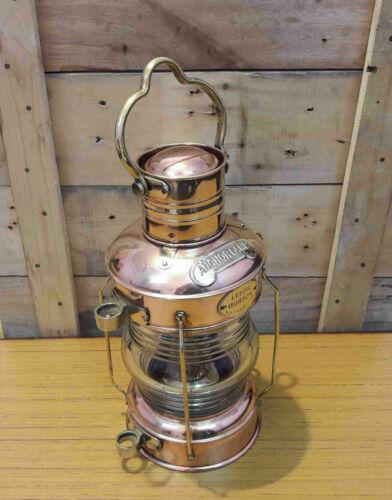 Antique Brass Copper Anchor Oil Lamp Maritime Ship Lantern