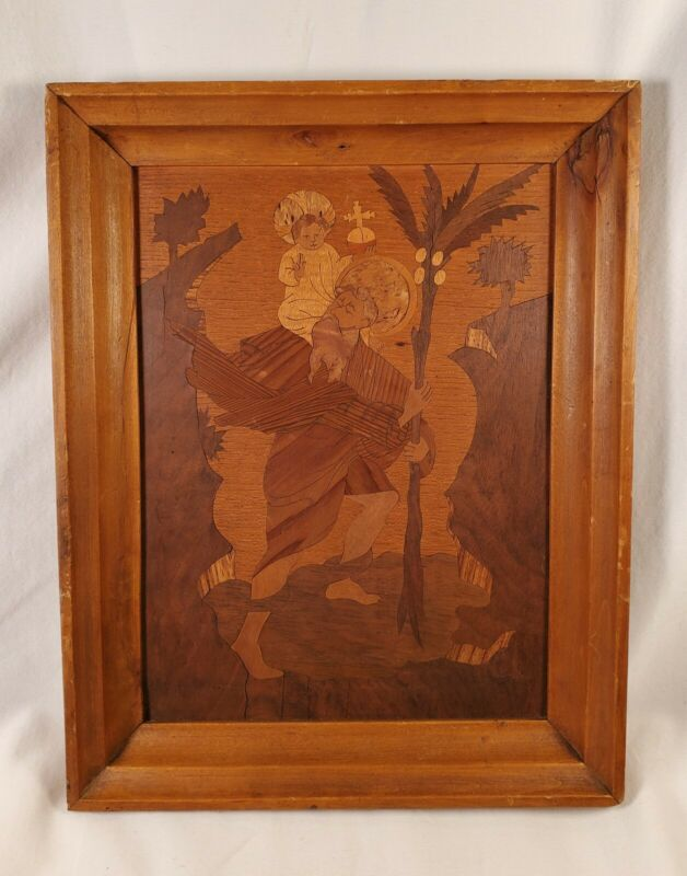 German Marquetry, Beautiful Wood Inlay, Religious  Scene With Christ Child!