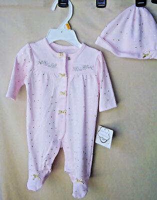 """LITTLE ME 100% Cotton """"PINK ROSE GOLD"""" Super Soft Footie w/Hat GIRL SIZES NWT"""