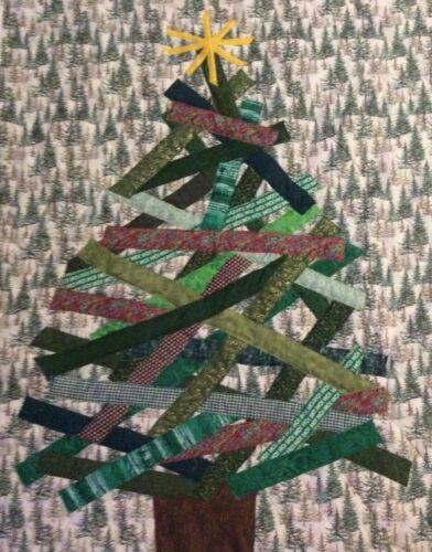 Handmade Contemporary Christmas Tree lap quilt