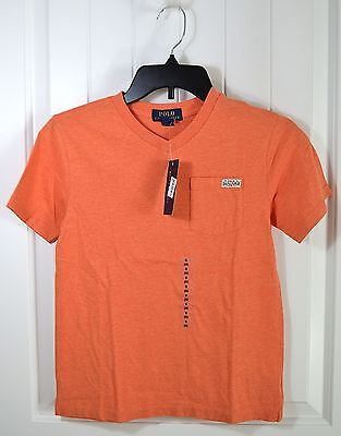 NWT BOYS KIDS POLO RALPH LAUREN ORANGE SHORT SLEEVE V NECK T SHIRT SZ S M L XL