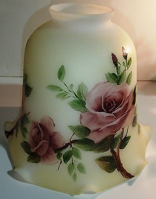 HAND PAINTED ART GLASS  LAMP SHADE RED ROSE  FLOWERS
