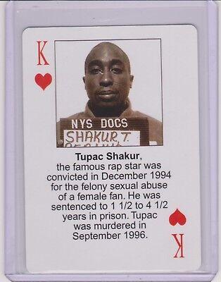 RARE 2003 STARZ BEHIND BARZ ~ TUPAC SHAKUR PLAYING CARD ~ MUG SHOT  HIP HOP ICON