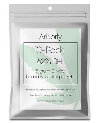 62% Humidity Control Packs - 10 Pack, 8 grams - All-Natural 2-Way Packets