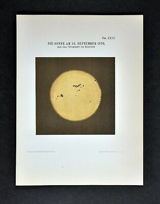 1894 Muller Celestial Map - Sun Spots Flares on September 22, 1870 by Rutherford